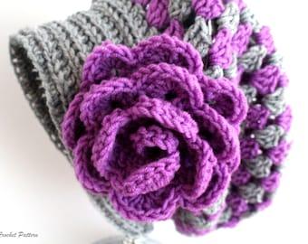 Crochet Slouchy Hat Pattern, Granny Slouchy Hat, Crochet Hat Patterns For Women, Crochet Hat With Flower, Slouchy Beanie Women, PDF Pattern