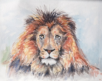 Original Watercolor | LION | Watercolor Painting /  Comporary Painting  / Animal lover gift  /Nature lover gift / Animal portrait