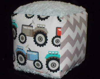 Tractors and Chenille Fabric Block Rattle Toy