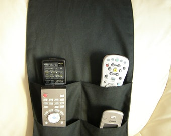 Black Remote Control Caddy for TV/DVD Remotes 4 pocket