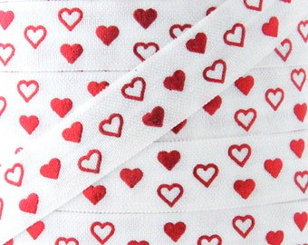 Red Heart Metallic Print Fold Over Elastic - Elastic for Baby Headbands and Hair Ties - 5 Yards 5/8 inch Printed FOE