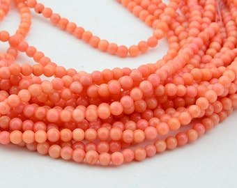 16 Inch  Pink  Coral  4MM  Round Bead ,  Semi Precious Coral