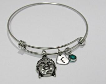 Buddha Bangle Bracelet, Bangle Bracelet, Personalized Bracelet, Three dementia Buddha, Charm Bracelet, Heart, Adjustable Bangle