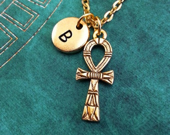 Ankh Necklace, Personalized Necklace, Egyptian Pendant, Custom Necklace Initial Necklace Monogram Necklace Engraved Charm Gold Ankh Keychain