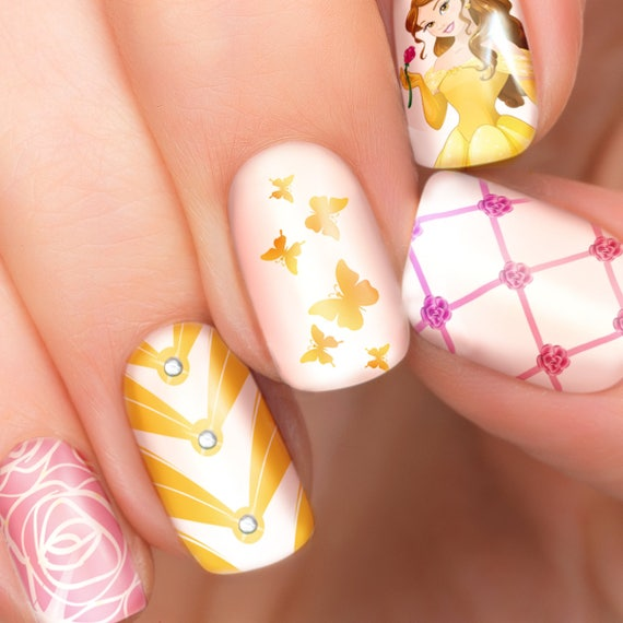 Belle Nail Art: Belle Disney Nail Transfers Illustrated Nail Art Decals