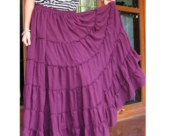 Purple Cotton Boho Hippie Long Elastic Waist Summer Ruffle Skirt (H)