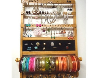 ON SALE Jewelry Organizer Deluxe, Elegant Wall Mount, All-in-One, Honey Stain, Earring Holder, Necklace Display, Bracelet Ring Holder, Oak H