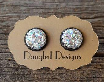 12mm Silver Glitter Sparkle Dome Earrings in Black Setting