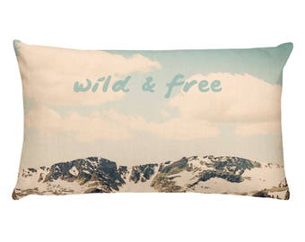 Wild & Free Rectangular Pillow, landscape photography, landscape decor, rocky mountains, colorado home, mountain home, cabin decor, bohemian