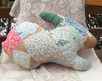 Upcycled Vintage Quilt Bunny Pillow, Quilted Bunny Rabbit Pillow