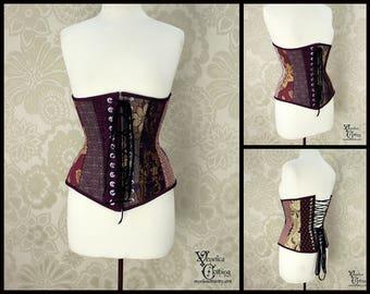Steampunk Renaissance Purple & Gold Random Patchwork Steel Boned Corset - You Choose Your Corset Style - Custom Sized