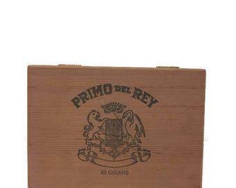 Vintage Wooden Cigar Box - Primo Del Rey - Keepsake, Trinket, Stash Box - Craft Project