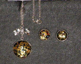 Set 2 PCs cabochon glitter gold