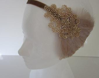 CHAMPAGNE Wedding Headpiece, 1920s Hair Accessory,  San Francisco great gatsby bridal Flapper Headband Beige OR Black white gray Feather