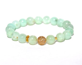18k Chrysoprase Diamond Stretch Bracelet