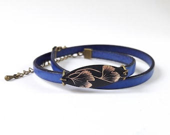 Leather Bracelet blue and sequin serious ginkgo biloba.