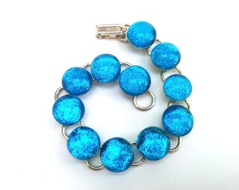 Fused dichroic glass caterpillar bracelet - Tectonik Collection - Turquoise blue, silver (B14)