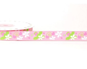 16 mm flower pink and lime green polyester Ribbon
