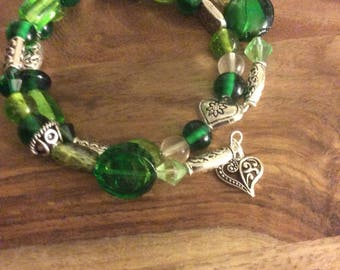 Wearing the Green, Double Wrap Bracelet.