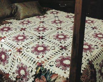 Victorian Lace Crochet Afghan Blanket Pattern, Motif Granny Square, Home Decor, Bedding, Bedspread, Sofa Throw, Flower Design, Snowflake
