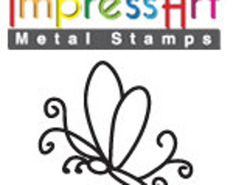 """Sale - BUTTERFLY SWiRL 2  METaL STaMP 6mm 1/4"""" Steel Punch ImpressArt Stamping Insect Jewellery Tool Jewelry Making Tool"""