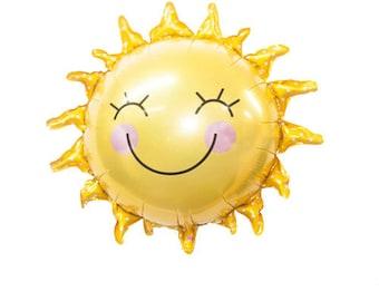 """29"""" Happy Sun Balloon, sun balloon, pool party, yellow baby shower, smiling balloon,"""