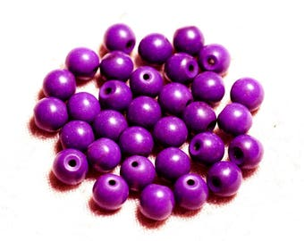39cm env - synthetic, reconstituted Turquoise stone beads 48pc yarn balls 8 mm purple