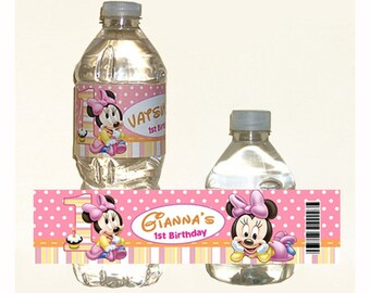 printable - Baby Minnie Mouse 1st Birthday water bottle label
