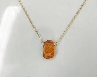 Hessonite Necklace Garnet Crystal Necklace January Birthstone Layering Necklace Minimalist Necklace