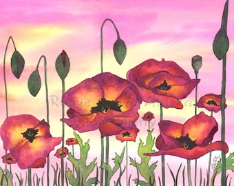 Purple Passion - Print of Purple and Yellow Poppies with Pink and Yellow Sky