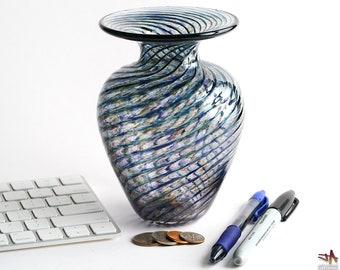 Hand Blown Glass Vase - Classic Shape with Transparent Purple Stripes