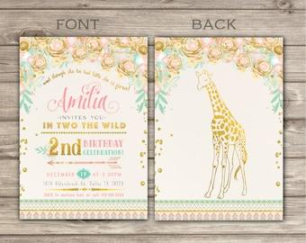 In Two the Wild Birthday GIRAFFE Invitations & Thank You Cards Glitter girl 2nd second Animals Birthday Printable Zoo birthday Safari NV2239