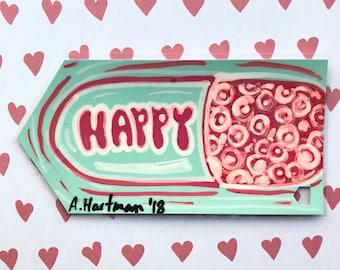 HAPPY VITAMIN handpainted bookmark OOAK