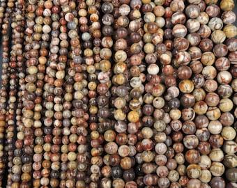 """Natural Bird's Eye Rhyolite Beads 4mm Round Beads, 6mm Round Beads, 8mm Round Beads, 10mm Round Beads 16"""" Strand"""