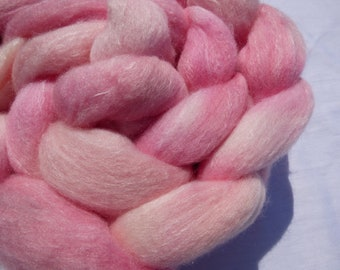 Rose Pink Polwarth and Mulberry Silk Blend - Hand Dyed Wool Roving (Top) - 100g