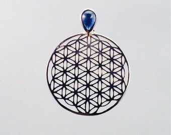 Sacred Geometry, Sterling Silver Flower of Life Pendant with Custom Sapphire Bail