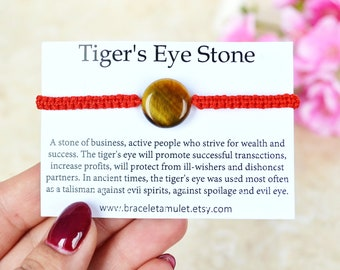 Stone amulet Tiger eye bracelet Red string Gift for her Protection bracelet Amulet bracelet Women bracelet Red bracelet Spiritual bracelet
