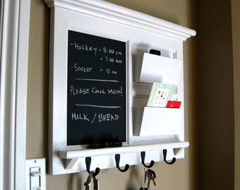 Home Decor Framed Furniture Double Mail Organizer Storage and Shelf with Chalkboard or Bulletin Board Cork Keyhook