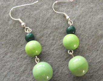 Apple Green Silver Dangle Earrings