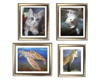 Gallery Animal Print Set, Animal Drawing Set, Animal Illustration Set, Lifelike Art, Wildlife Wall Art, Fine Art for Sale, Art Prints Online