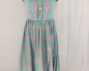 1950s lilac and green dress mad men 50s mid century