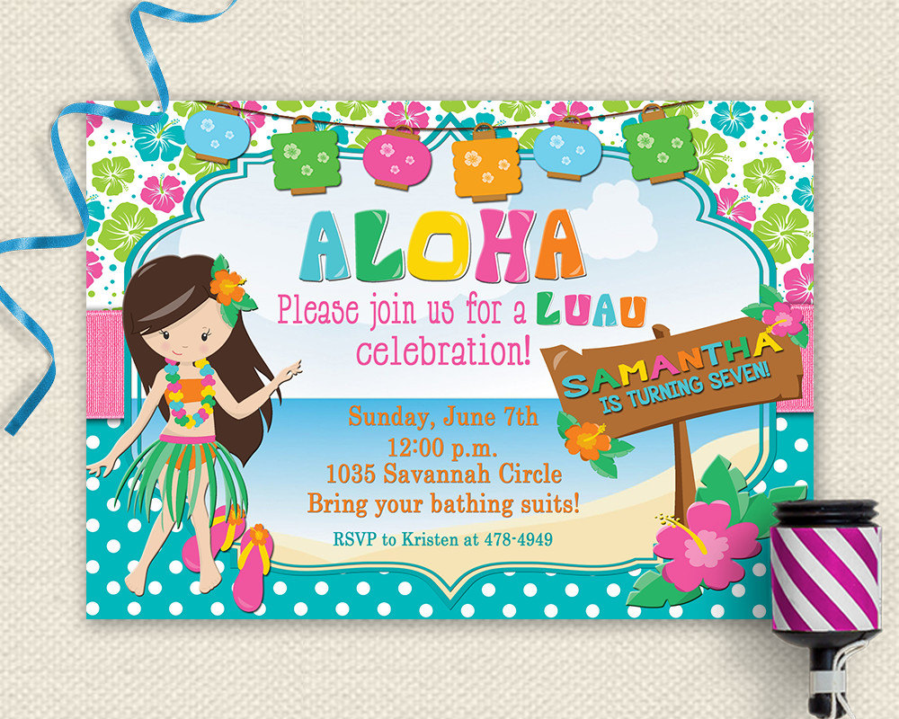 Luau invitation luau birthday invitation luau party luau zoom stopboris Gallery