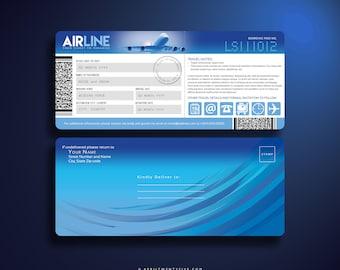 ALBA Boarding Pass, Airline Ticket Invitation, Save the date, Invitation card, Invitation Suite, Plane Ticket