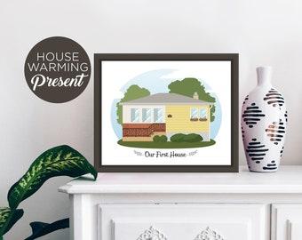 Custom House Portrait Illustration, Personalized Portrait, Housewarming Gift, Home Portrait