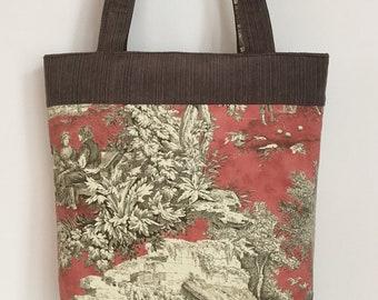 Large Shoulder Bag Toile Tote Out of Print Lutrece Hard to Find New Vintage Fabric Vacation Travel Bag