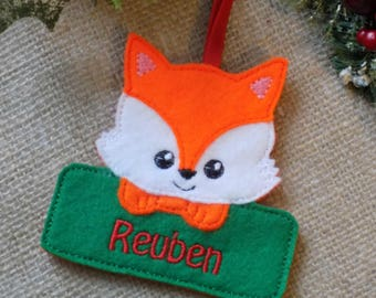fox christmas decoration, personalised christmas decoration, xmas decoration, tree decoration, woodland decoration, christmas decoration