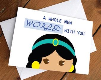PRINCESS JASMINE CARD // disney, pretty, cute, greeting card, anniversary, birthday, valentines day