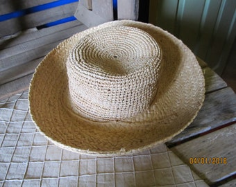 "Vintage ""The Scala Collection"" All Natural Fiber Straw Raffia Beach Resort Sun Garden Hat with Rolled Brim - One Size"