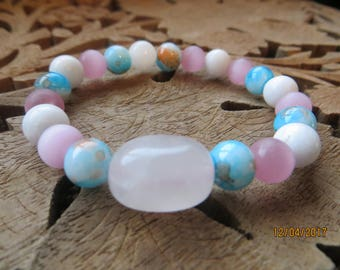 Rose Quartz with Pink Cats Eye Glass Beads Stretchy Bracelet