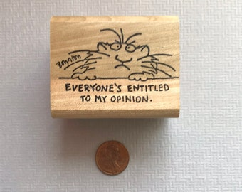 Rare Vintage 1985 Sandra Boynton Everyone's Entitled to My Opinion Kidstamps Cat Rubber Stamp